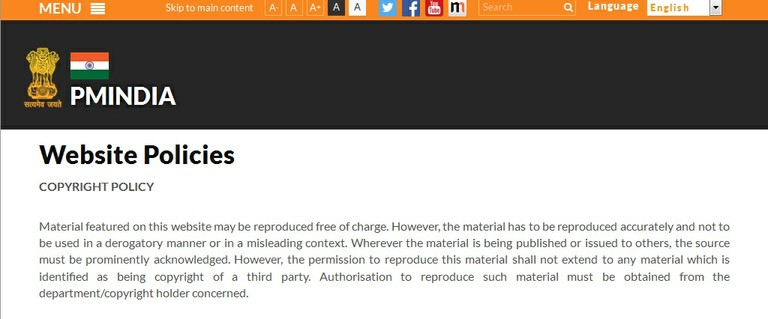 PMIndia website copyright policy