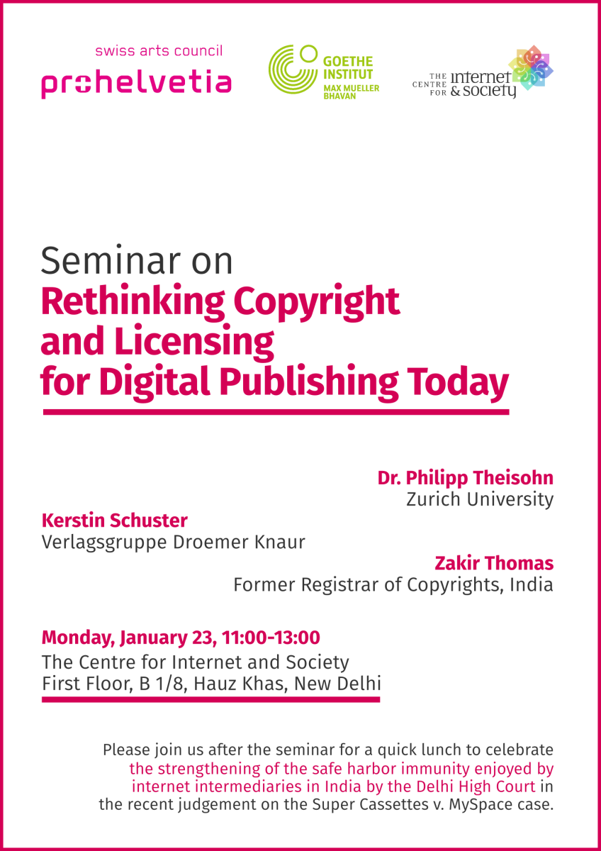 Seminar on Rethinking Copyright and Licensing for Digital Publishing Today (Delhi, January 23)