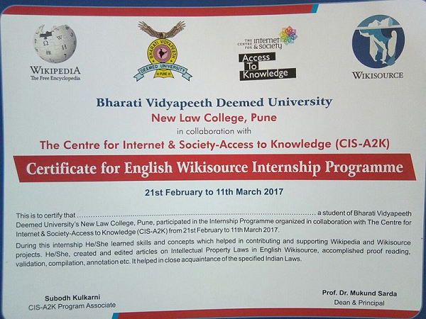 Wikisource Certificate