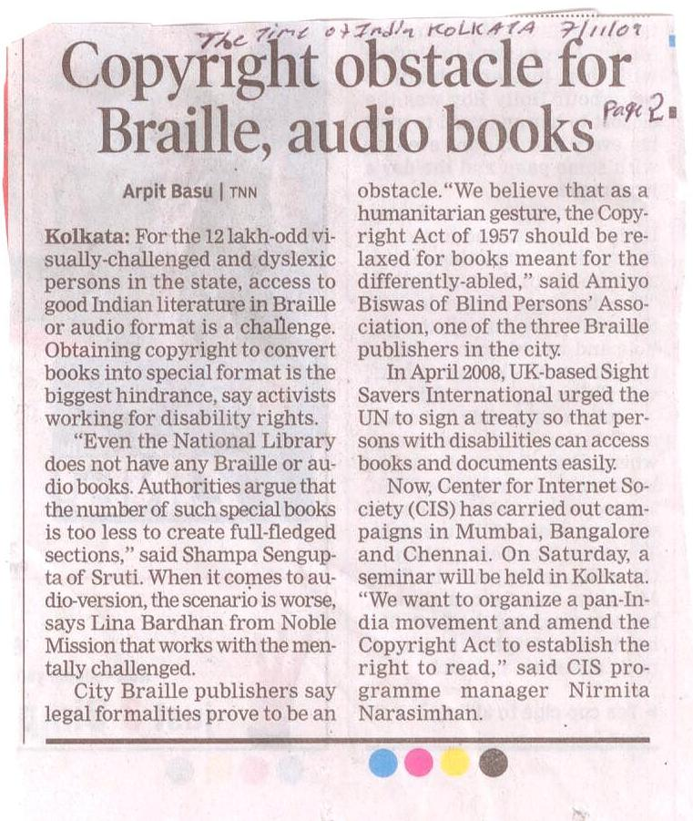 Copyright obstacle for Braille, audio books