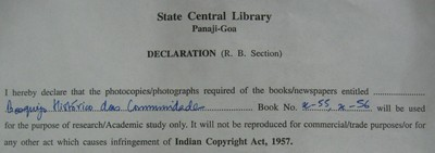 Form of declaration assuring proper use of photocopied material from the Central Library, Panjim.
