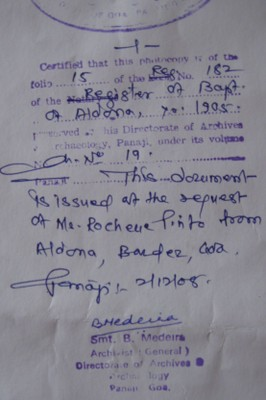 Stamp of verification on documents issued by the Directorate of Archaeology and Archives of Goa, Panjim